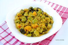 Indyjskie curry z dyni, bakłażana i bobu.