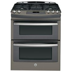 "GE - Profile Series 30"" Self-Cleaning Slide-In Double Oven Gas Convection Range - Slate - Larger Front"