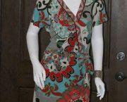 Hale Bob Vintage Red/Blue Garden Party Wrap Dress