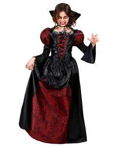 Déguisement vampire manches bouffantes fille : Ce déguisement vampire pour fille au toucher satiné se compose d'une robe de 116 cm de long et d'un tour de cou en forme de croix.Le haut de la robe se compose qui... Costume Halloween, Halloween 2019, Halloween Outfits, Cool Costumes, Costume Hippie, Girls Vampire Costume, Vampire Kids, Halloween Vampire, Costume Steampunk
