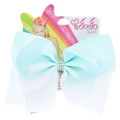 Get the ultimate dancing hair accessory with this super fun large mint & white ombre colored signature hair bow from JoJo Siwa collection. The bow has been attached to a metal salon clip making it really easy to wear and has been covered in rhinestones so you will sparkle from head to toe.<UL><LI>JoJo Siwa collection</LI><LI>Large white & mint ombre design</LI>&am...