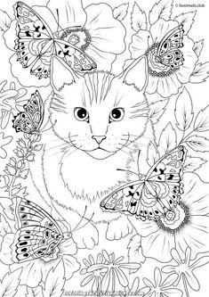 The World of Butterflies - Cat and Butterflies - Printable Adult Coloring Pages from Favoreads Dog Coloring Page, Cute Coloring Pages, Printable Adult Coloring Pages, Flower Coloring Pages, Animal Coloring Pages, Coloring Pages To Print, Coloring Books, Coloring Sheets, Mandala Coloring