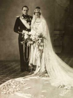 King Olav V of Norway, while still Crown Prince, with his new bride, Princess…