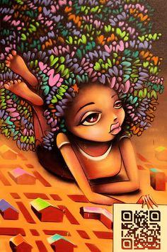 Street Art By Vinie - Paris (France) - Street-art and Graffiti . Graffiti Artwork, Street Art Graffiti, Black Girl Art, Black Women Art, Black Girls, African American Art, African Art, Banksy, Art Afro