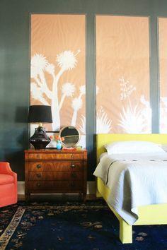upholstered platform bed + DIY screen behind bed.