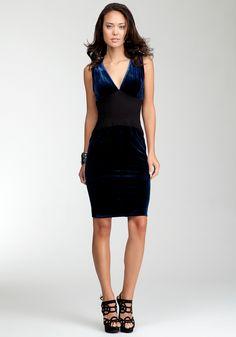 Contrast Ponte Velvet Dress - Bebeblack - Navy - L