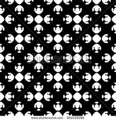Vector monochrome geometrical texture, black and white seamless pattern in Asian style. Stylized geometric lotus flowers. Abstract dark repeat background. Design element for print, decor, textile, web