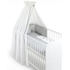 Bettset 100x135cm mit Bezug Baumwolle in Weiß/Grau (4-teilig) - Modell Stargazer Kindermöbel Kinderbetten Kinderbetten-Zubehör Kinderbettset...