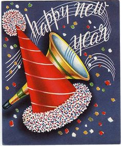 Happy New Year - confetti, noisemaker and party hat