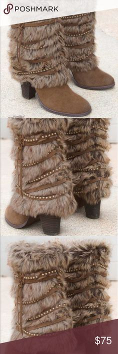 """Snow Bunny Cozy Tan Boots A fun Flirty pair of leather and Faux fur snow bunny boots.  Have fun in these detailed stud accent strapped boots🤗 Faux fur and leather boot, Stud accents, Short 9"""" shaft, 4"""" heel. Faux fur and leather upper. German outsole. Due to the nature of leather/suede, small variances of color in the skin may occur, this is in no way considered a defect. These are inherent characteristics of leather/suede and will enhance the individual look of your garment. Imported…"""