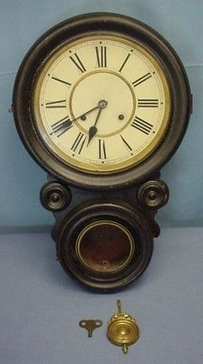 Antique 19th C. Waterbury  Bahia Rose  Wall Clock Canadian bidders - We are a registered business, if you are a Canadian resident, add GST - if you live in Ontario or British Columbia, please add HST