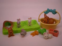 Vintage Littlest Pet Shop Mommy and Baby Bunnies 1992 Kenner $28.00