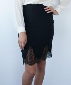 Black Lace Scallop Pencil Skirt