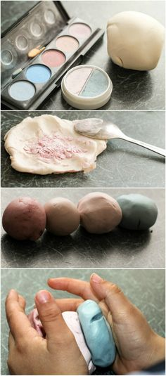 How to make shimmer playdough. Colouring playdough with leftover make up