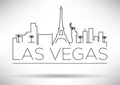 Line drawing of the Las Vegas skyline with the city's name vector art illustration