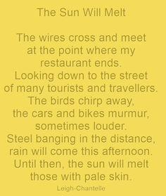 The #Sun Will Melt #WriteShortWed #quote