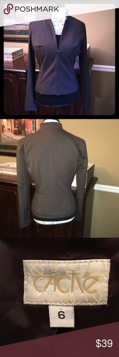 Cache Zip-Front Blazer in Brown, Size 6 Cache Zip-Front Blazer in Brown, Size 6  Excellent like-new condition and comes from a smoke-free home. Measures 22 inches from shoulder to hem. Cache Jackets & Coats Blazers