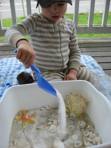 Beach Sensory Tub; sand, shells, sea creatures, bucket, spade