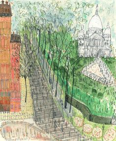 the city in summer, print by Clare Caulfield