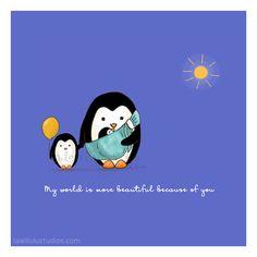 Children's Wall Art Print - Kids Decor - Wall Art Illustration - sling, baby carrier, siblings, nursery - Penguins, Family Series - 8 x 8 Penguin Art, Penguin Love, Happy Today, Happy Fun, Cute Animal Drawings, Cute Drawings, Family Illustration, Illustration Art, Wall Art Decor