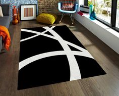 Black and White Rug. Strong design, simple shapes, truly impact in your decoration. This modern rug combines with any colors so you can add it to any room in your home. In TheGretest we offer you our Family Room Design, Interior Design Living Room, Living Room Designs, Contemporary Decor, Modern Decor, Rugs In Living Room, Living Room Decor, Black And White Dining Room, Affordable Rugs