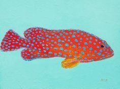 Fish painting, canvas art, strawberry grouper fish, bathroom art, kitchen art, coastal decor, beach house art