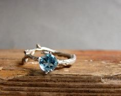 This Swiss blue topaz trillion sterling silver twig ring. | 65 Impossibly Beautiful Alternative Engagement Rings You'll Want To Say Yes To