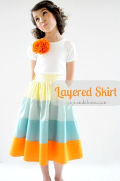 layered skirt tutorial // jojo and eloise for at the picket fence (love that you don't have to gather each layer)