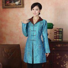 Charming Chinese Tang Style Long Jacket - Light Blue - Chinese Jackets & Coats - Women