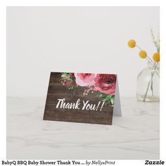 Shop BabyQ BBQ Baby Shower Thank You Card Rustic created by NellysPrint. Custom Thank You Cards, Baby Shower Thank You Cards, Diaper Raffle Tickets, Baby Shower Invitations, Cute Babies, Create Your Own, Bbq, Place Card Holders, Rustic