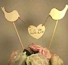 rustic banner, love birds cake topper