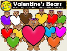Valentines Bear Clip ArtsYou will receive:1 B & W bear clip art37 bear clip arts in colorColor for the boy and girl bear: Blue , brown, fuchsia, gray, green, marron, orange, pink, purple, red, dark red, tan, white , yellow Bonus: 3 bicolor hearts, blue bubble heart, brown lallipop, 2 frames with red hearts, purple bubble heart, purple and yellow lollipop.Terms of Use:The clip art may be used in educational commercial products.