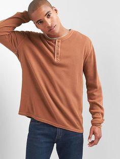 Garment-dye waffle knit henley