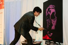 Speed Painter Rock Demarco at the Art of Medicine Gala - October 2017 at the Orlando Museum of Art Speed Painter, Orlando Museum Of Art, October 20, Brain Injury, Foundation, Medicine, Rock, Fictional Characters, Skirt