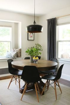 world market table and chairs in mid century dining room - Round Table Dining