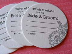 Letterpress Coasters - advice for the bride and groom (set of 50)