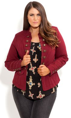 #PlusSizePretty City Chic - MILITARY MAYHEM JACKET - Women's plus size fashion