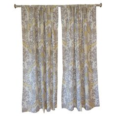 Add a pop of style to your master suite or den with this chic linen and burlap curtain, showcasing an eye-catching ikat damask motif. Made in the USA. ...