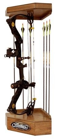 Solid Oak Corner Bow Display | Lost Camo Crossbow Hunting, Archery Hunting, Tactical Survival, Survival Gear, Gun Cabinet Plans, Mathews Bows, Bow Rack, Bow Display, Gun Rooms