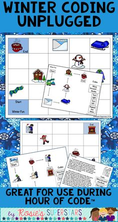 Engaging unplugged winter coding challenges! Use these 3 different activities for The Hour of Code ™️ and beyond! Students use basic coding and critical thinking skills. Each activity has multiple game boards allowing students to complete each activity multiple times.