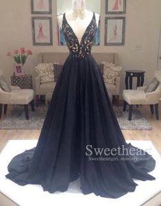 Unique black v neck lace chiffon long prom dress 2016 for teens, modest prom dress