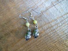 olive jade owl earrings by DesisdesignsShop on Etsy