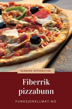 Lag en lys og fin, men allikevel fiberrik pizzabunn med FiberFin i deigen Low Carb Pizza, Vegetable Pizza, Vegetables, Diabetes, Type, Food, Veggies, Vegetable Recipes, Meals