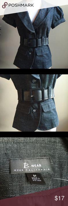 B. Wear Dark Soft Denim Belted Blazer Short sleeve blazer in soft dark denim and its belted. Size M Jackets & Coats Blazers