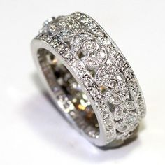 Diamond Eternity Band 14k White Gold Diamond Wedding Ring Women Wedding Band…