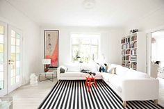 Use stripes to elongate the space.
