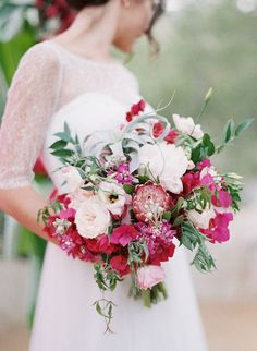 blush, ivory and fuchsia bouquet featuring protea, garden roses, peonies… Fall Wedding Flowers, Autumn Wedding, Floral Wedding, Autumn Flowers, Bouquet Wedding, Green Wedding, Rose Fushia, Pink Flowers, Bougainvillea Wedding