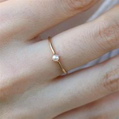Minimalist Pearl ring Simple Free shipping18K Gold Plating   Etsy Delicate Jewelry, Dainty Ring, Simple Jewelry, Delicate Rings, Engagement Ring Settings, Vintage Engagement Rings, Diamond Engagement Rings, Engagement Rings Minimalist, Diamond Jewelry