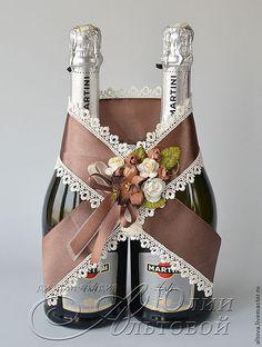 """Купить """"Цвет шоколада"""" украшение для шампанского - украшение для шампанского, украшение шампанского, свадебное шампанское"""