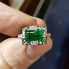 Antique emerald and diamond cluster ring Dublinjewellery #VintageJewelry